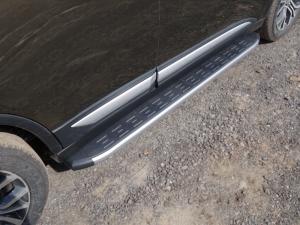 Mitsubishi Outlander 2015 Пороги алюминиевые с пластиковой накладкой (карбон серебро) 1720 мм
